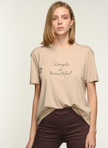 NGSTYLE Kadın Baskılı  Tişört NGKSS21TS0019 Taş
